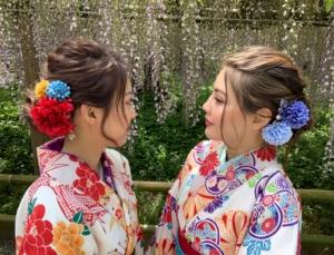 レンタル着物で平等院の藤のお花見