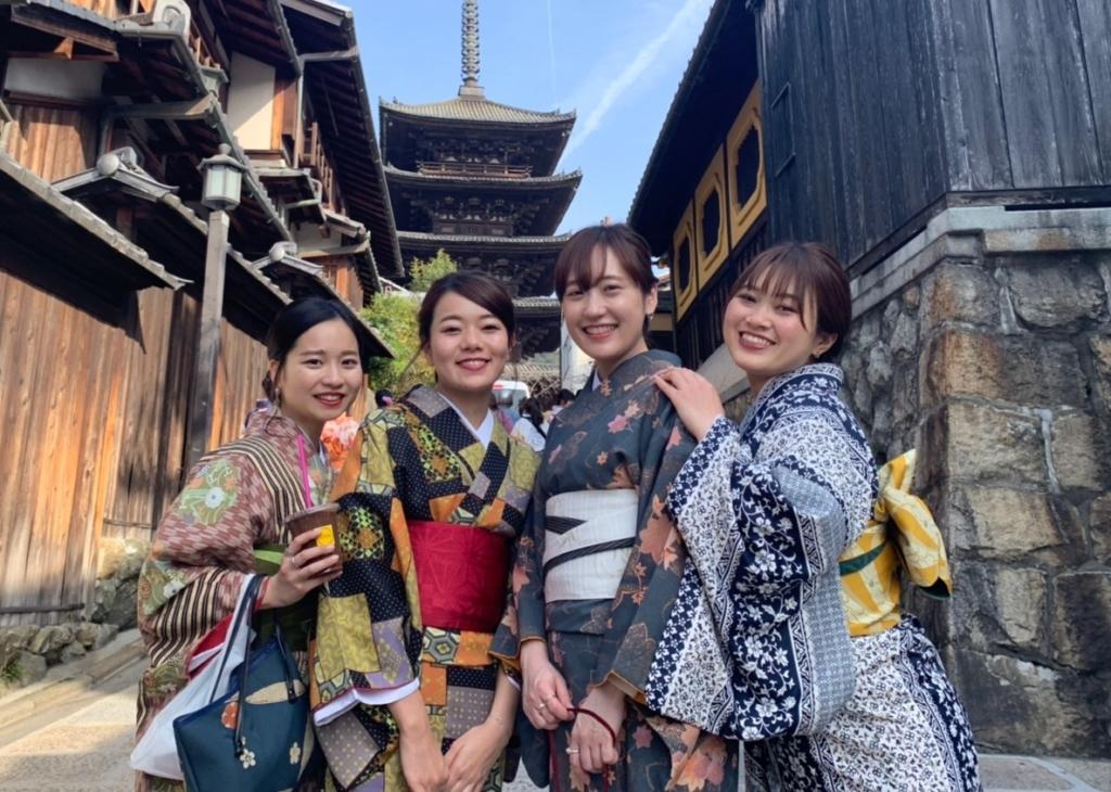 京都の町並みと着物