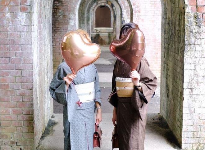 南禅寺の着物散策にお勧めのレトロなアースカラー双子コーデ