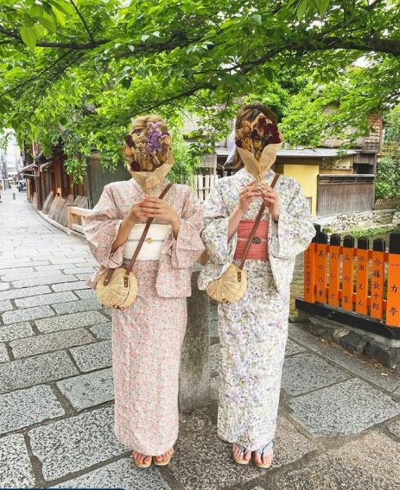 祇園白川とガーリー浴衣コーデ